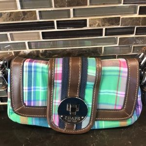 Chaps plaid brown green pink blue crossbody purse